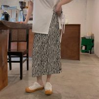 skirt Summer 2021 M, L Picture color Mid length dress Versatile High waist A-line skirt Zebra pattern Type A 18-24 years old ZXJ6300 30% and below Chiffon Other / other other printing