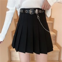 skirt Summer 2021 S,M,L,XL Black with belt, gray with belt Short skirt Versatile High waist Pleated skirt lattice Type A 18-24 years old YM2661# 30% and below