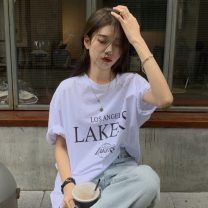 T-shirt Graph color Average size Summer 2021 elbow sleeve Crew neck easy Medium length routine commute other 30% and below 18-24 years old Korean version letter Other / other printing