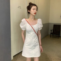 Dress Summer 2021 White, black S, M Middle-skirt singleton  Short sleeve commute other High waist Solid color zipper A-line skirt puff sleeve Others 18-24 years old Type A Other / other Korean version Splicing lym14589