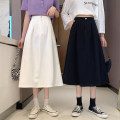 skirt Summer 2021 S,M,L White, black Mid length dress Versatile A-line skirt Solid color Type A 18-24 years old 31% (inclusive) - 50% (inclusive) other Other / other other