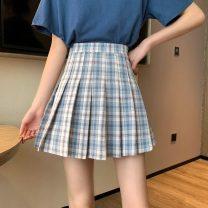 skirt Summer 2021 XS,S,M,L Light blue grid, light purple grid, dark blue grid, green grid Mid length dress commute High waist A-line skirt lattice Type A 18-24 years old lym15054 31% (inclusive) - 50% (inclusive) pocket