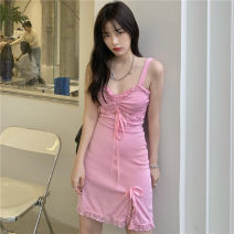 Dress Summer 2021 Pink S,M,L Short skirt singleton  Sleeveless V-neck High waist Solid color Socket A-line skirt other camisole 18-24 years old Type A Other / other Frenulum ZXJ6291 30% and below other other
