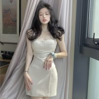 Dress Summer 2021 Apricot, blue S, M Short skirt singleton  Sleeveless commute High waist Solid color other camisole 18-24 years old Type A Other / other Korean version ZXJ6351 30% and below other other