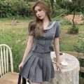 Fashion suit Summer 2021 S, M Top, pleated skirt 18-25 years old Other / other ZXJ5830 30% and below