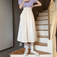 skirt Summer 2021 S,M,L Apricot, black, orange longuette commute High waist A-line skirt Solid color Type A 18-24 years old ysg8531 30% and below other Other / other other pocket Korean version