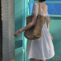 Dress Spring 2021 White, black M, L Miniskirt singleton  Short sleeve square neck High waist Solid color Socket other puff sleeve Others 18-24 years old Type A Other / other backless LXJ3945 30% and below other other