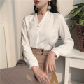 Lace / Chiffon Summer 2021 White, off white Average size (160 / 84A) Long sleeves Versatile Socket singleton  Straight cylinder V-neck Solid color 18-24 years old Other / other Z614