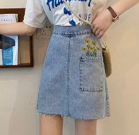 skirt Summer 2021 S,M,L,XL wathet Short skirt Versatile High waist A-line skirt Type A 18-24 years old ysg7618 31% (inclusive) - 50% (inclusive) Denim Other / other Embroidery