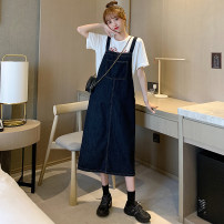 Dress Summer 2021 navy blue S,M,L Middle-skirt singleton  Sleeveless commute Loose waist Solid color Socket straps 18-24 years old Other / other Korean version sg3272 51% (inclusive) - 70% (inclusive)