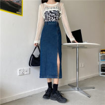 skirt Summer 2021 S,M,L Light blue, dark blue, black Mid length dress Versatile High waist Denim skirt Solid color Type A 18-24 years old LXJ3339 30% and below other Other / other other