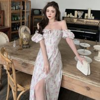 Dress Summer 2021 Picture color S,M,L Mid length dress singleton  Short sleeve square neck High waist Decor other other Others 18-24 years old Type A Other / other ZXJ4832 30% and below other other
