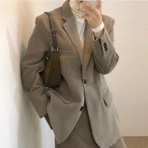 suit Winter 2020 Brown suit, dark blue suit, brown half skirt, dark blue skirt, high collar bottoming shirt S. M, average size Long sleeves routine easy tailored collar Single breasted commute routine Solid color 71% (inclusive) - 80% (inclusive) Button