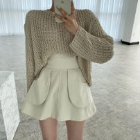 Fashion suit Summer 2021 Average size White knitting, card knitting, black knitting, green skirt, black skirt, apricot skirt 18-25 years old 81% (inclusive) - 90% (inclusive)