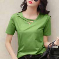 T-shirt Ginger, white, gray, black, Avocado Green, skin pink 3XL,2XL,L,XL,M Autumn 2020 Short sleeve V-neck easy Regular routine commute polyester fiber 96% and above 18-24 years old Korean version classic Solid color Other / other F978# Splicing