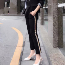 Casual pants black Spring 2021 Ninth pants Pencil pants Natural waist Versatile routine 96% and above Girdard / brother-in-law nylon nylon
