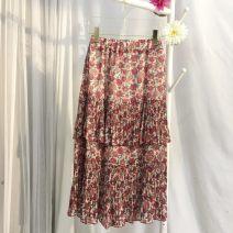 skirt Spring 2020 S, M Cinnamon powder Mid length dress High waist Decor