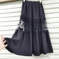 skirt Spring 2021 Average size Black, white longuette commute High waist A-line skirt Solid color Type A 18-24 years old other Splicing