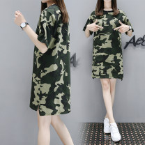 Dress Summer of 2019 Red, army green M,L,XL,2XL,3XL,4XL,5XL Mid length dress singleton  Short sleeve street Crew neck Loose waist Socket Pencil skirt routine Type H 81% (inclusive) - 90% (inclusive) cotton Europe and America