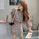 Dress Spring 2021 Pink flowers Average size Short skirt singleton  elbow sleeve commute Crew neck High waist Broken flowers other puff sleeve Others 18-24 years old Type A Korean version Fold, Auricularia auricula 31% (inclusive) - 50% (inclusive) other