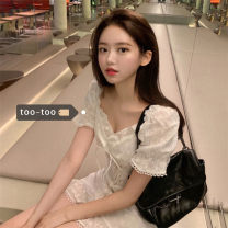 Dress Summer 2021 Dress S, M Short skirt singleton  Short sleeve commute square neck High waist A-line skirt puff sleeve Others 18-24 years old Type A Korean version Fungus, lace up 31% (inclusive) - 50% (inclusive) other