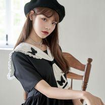 Dress Summer 2020 black S,M,L,XL Mid length dress singleton  Short sleeve Bow tie, Auricularia auricula