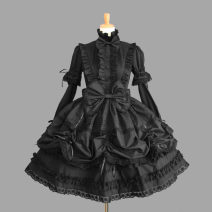 Dress Autumn of 2018 S. M, l, XL, XXL, made to measure Middle-skirt Short sleeve stand collar Lace