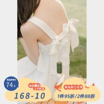 Dress Summer 2021 white Average size singleton  Sleeveless commute High waist Solid color Socket other camisole 18-24 years old Type A Korean version 30% and below other other
