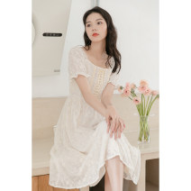 Dress Summer 2021 Apricot S, M Mid length dress singleton  Short sleeve commute square neck High waist Solid color zipper other routine Others 18-24 years old Korean version Lace, lace 30% and below other other