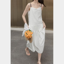 Dress Summer 2021 white S,M,L Mid length dress singleton  Sleeveless commute Loose waist Solid color Socket A-line skirt other camisole 18-24 years old Type A Other / other Korean version 30% and below other other