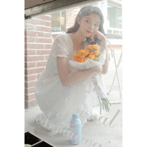 Dress Summer 2021 white S,M,L Mid length dress singleton  Short sleeve commute square neck High waist Solid color Socket A-line skirt routine Others 18-24 years old Type A Korean version 30% and below other other