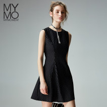 Dress Summer of 2018 stripe S/155 M/160 L/165 Short skirt singleton  Sleeveless commute Crew neck High waist stripe A button A-line skirt 25-29 years old Mymo Simplicity Stitching buttons L410H 31% (inclusive) - 50% (inclusive) nylon
