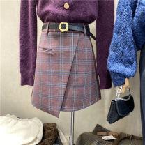 skirt Winter 2020 S,M,L Black, pink, coffee Short skirt Natural waist A-line skirt lattice Type A Wool
