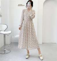 Dress Spring 2021 Rice purple flowers, foundation green flowers M, L Mid length dress singleton  Long sleeves commute V-neck High waist Broken flowers Socket A-line skirt routine Others 18-24 years old Type A Babaon Korean version 30% and below Chiffon other