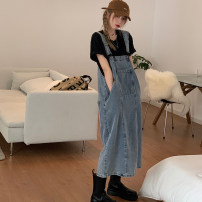Dress Summer 2021 Denim blue black S M L Mid length dress singleton  Sleeveless commute Crew neck Loose waist Solid color Socket A-line skirt routine straps 18-24 years old Type H Itrustar Korean version Pocket stitching 81% (inclusive) - 90% (inclusive) cotton Pure e-commerce (online only)