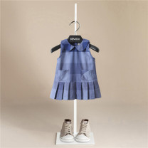 Dress Blue, fog blue, dark blue, jujube, dark jujube female Bemidji / Bemidji Cotton 95% other 5% summer Britain Skirt / vest lattice cotton Pleats YM2023-30203 Class A 12 months, 18 months, 2 years old, 3 years old, 4 years old, 5 years old, 6 years old, 7 years old, 8 years old Chinese Mainland