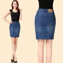skirt Spring 2020 Middle-skirt Versatile High waist Denim skirt Solid color Type O Denim cotton pocket