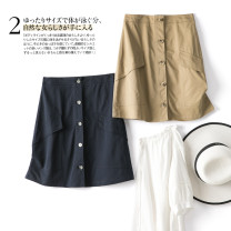 skirt Summer 2020 S M L XL Navy Khaki Short skirt commute High waist High waist skirt Solid color 25-29 years old 51% (inclusive) - 70% (inclusive) wesee cotton Ol style Cotton 60% polyester 40%