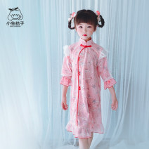 cheongsam 110,120,130,140,150 Pink Polyester 100% Little rabbit and orange There are models in the real shooting Class B Three, four, five, six, seven, eight, nine, ten, eleven, twelve Chinese Mainland