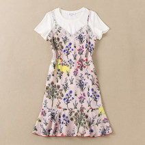 Dress Summer 2020 Decor S,M,L,XL Middle-skirt Two piece set Sleeveless Sweet V-neck middle-waisted Decor Socket Ruffle Skirt other camisole 25-29 years old Type A Monsoon Ruffle, stitching, zipper, print More than 95% other