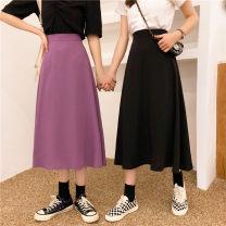 skirt Summer 2020 M,L,XL,2XL,3XL,4XL Black, purple Short skirt commute High waist A-line skirt Solid color Type A 31% (inclusive) - 50% (inclusive) other other Pleated, three-dimensional decoration, zipper Korean version