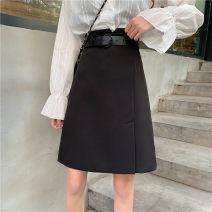 skirt Summer 2020 M,L,XL,2XL,3XL,4XL black Middle-skirt commute High waist A-line skirt Solid color Type A 71% (inclusive) - 80% (inclusive) other polyester fiber Three dimensional decoration, zipper Korean version