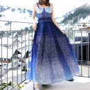 Dress Spring of 2018 Gradient blue S,L,M Mid length dress singleton  Sweet middle-waisted other zipper Big swing camisole Shang Ya's Poems 71% (inclusive) - 80% (inclusive) other