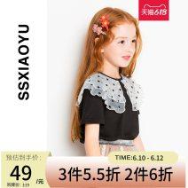 shirt female S · s · Xiao Yu / Fashion fish spring and autumn Short sleeve leisure time Solid color cotton Lapel crew neck Other 100% KTZS12020 Class B Autumn 2020 110cm 120cm 130cm 140cm 150cm 155cm Black white violet