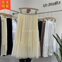 skirt Spring 2021 Average size Black, apricot, khaki, coffee longuette Versatile High waist Cake skirt Solid color Type A 25-29 years old 30% and below other Other / other cotton