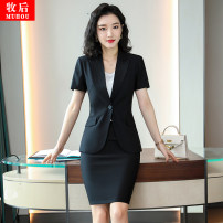 suit Spring 2021 White short sleeve coat, black short sleeve coat, blue short sleeve coat, white short sleeve coat + skirt, black short sleeve coat + skirt, blue short sleeve coat + skirt S. M, l, XL, 2XL, 3XL, 4XL, please contact Short sleeve routine Self cultivation tailored collar A button commute