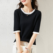 Wool knitwear Spring 2021 Average size Black and white Short sleeve singleton  Socket Viscose 51% (inclusive) - 70% (inclusive) Regular routine commute Self cultivation Low crew neck routine Color matching Socket lady SXZZS2l028 25-29 years old Paradise of awakening Pure e-commerce (online only)