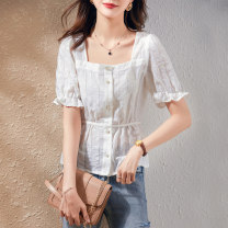 shirt white S M L XL Summer 2021 polyester fiber 96% and above Short sleeve commute Regular square neck routine Solid color 25-29 years old Self cultivation Paradise of awakening Korean version SXCS2l079 Polyester fiber 99% polyurethane elastic fiber (spandex) 1% Pure e-commerce (online only)