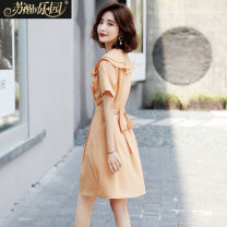 Dress Summer 2020 Orange rubber red purple S M L XL Mid length dress singleton  Short sleeve Sweet Doll Collar Solid color Single breasted A-line skirt routine 25-29 years old Type A Paradise of awakening Frenulum SXL2O277 91% (inclusive) - 95% (inclusive) polyester fiber princess