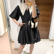 Dress Summer 2021 black S,M,L,XL Mid length dress singleton  Long sleeves Sweet Crew neck High waist zipper A-line skirt bishop sleeve Others 25-29 years old Type A More than 95% polyester fiber princess